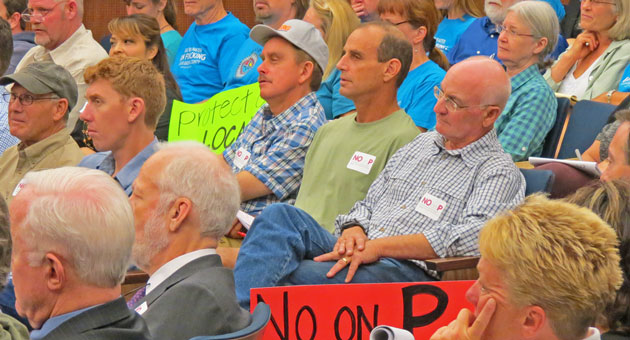 <p>Opponents of Measure P as well as anti-fracking group members, in the blue T-shirts, came out in full force Tuesday for the Board of Supervisors meeting.</p>