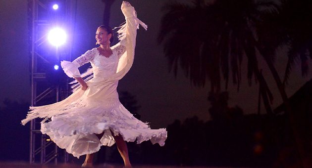 <p>The 2014 Spirit of Fiesta, Talia Ortega Vestal, performs &#8220;Entre Volantes y Perfume&#8221; on Wednesday night for La Fiesta Pequeña at the Santa Barbara Mission.</p>