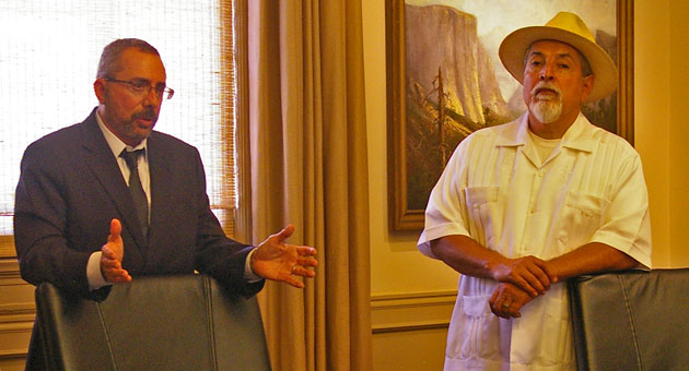 <p>Eastside resident Sebastian Aldana Jr., right, is one of the plaintiffs suing the City of Santa Barbara over the lack of district elections for council members. Attorney Barry Cappello, left, filed the lawsuit on Tuesday.</p>