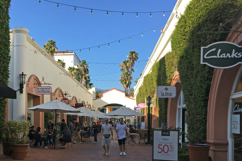 The Paseo Nuevo Shops & Restaurants has nearly full occupancy despite the vacancy rates on neighboring State Street and the loss of Macy's, one of its anchor stores.