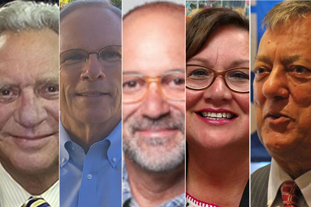 "The leading 2017 Santa Barbara mayoral candidates are, from left, Frank Hotchkiss, Harwood ""Bendy"" White, Angel Martinez, Cathy Murillo and Hal Conklin."