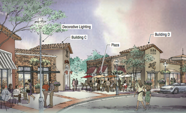 Westar Associates' proposed mixed-use project, slated to go in across from the Camino Real Marketplace, would include 274 residential units, 19 one-, two- and three-story buildings, pocket parks, open space, stores and restaurants. (Westar Associates rendering)