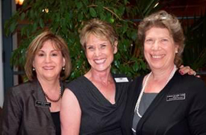 Jewish Family Service luncheon chair Joan Rothenberg, left, with historian and guest speaker Jacqueline Berger and Barbara Kuhn. (Jewish Federation of Greater Santa Barbara photo)