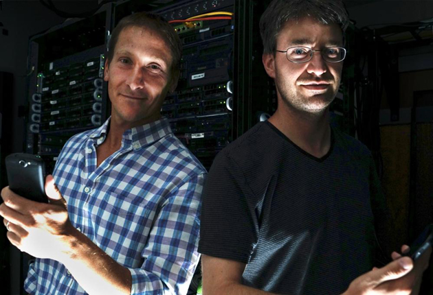 <p>UCSB computer scientists Giovanni Vigna, left, and Christopher Kruegel are studying smartphone security issues.</p>