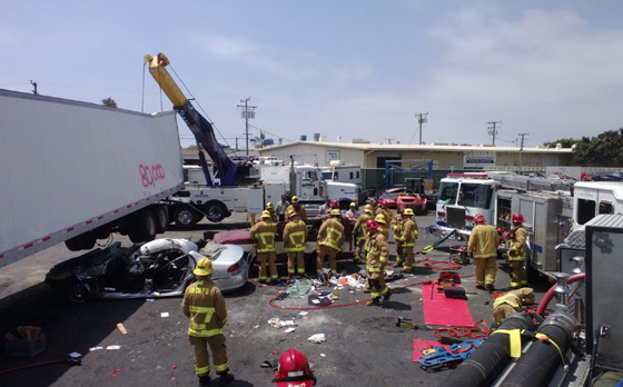 <p>The Santa Barbara County Fire Department&#8217;s heavy lift and vehicle extrication training scenario involves an 80,000-pound big rig with two vehicles beneath it.</p>