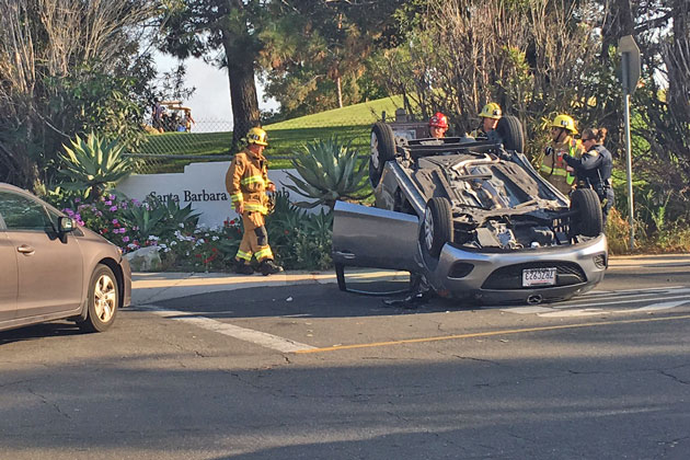 One person was taken to the hospital Wednesday afternoon following a two-vehicle, rollover accident at Las Positas Road and McCaw Avenue in Santa Barbara.