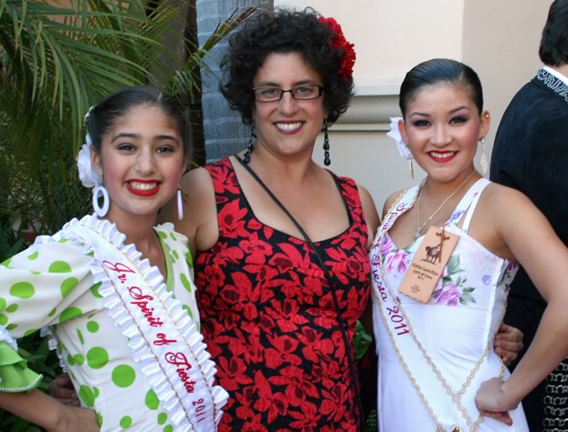 <p>Santa Barbara Mayor Helene Schneider is greeted by 2011 Junior Spirit of Fiesta Anais Crespo-Pe&#241;a, left, and Spirit of Fiesta Marisa Leon-Haro in the reception line at Sunday&#8217;s Recepcion de la Presidenta.</p>