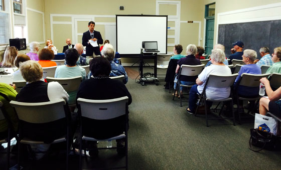 <p>Assemblyman Das Williams addresses attendees Friday at a seminar on senior scam prevention held in Goleta.</p>