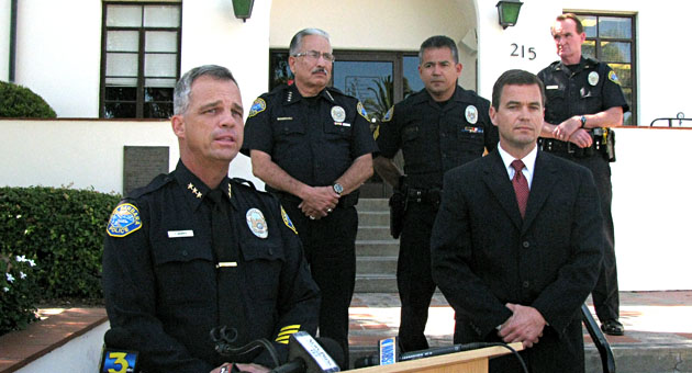 <p>From left, Santa Barbara Deputy Police Chief Frank Mannix, Chief Cam Sanchez, Sgt. Lorenzo Duarte, District Attorney&#8217;s Office investigator Dave Saunders and Sgt. Paul McCaffrey brief the media Friday about the case against longtime department administrator Karen Flores.</p>