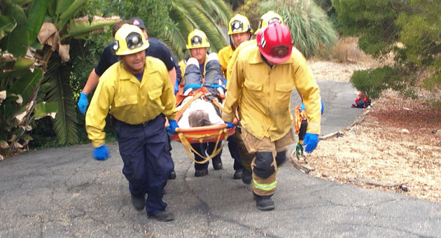 Santa Barbara firefighters were in for a long haul while rescuing a woman who fell 150 feet down an embankment in the 1700 block of Eucalyptus Hill Road, trapping herself overnight. (Urban Hikers photo)