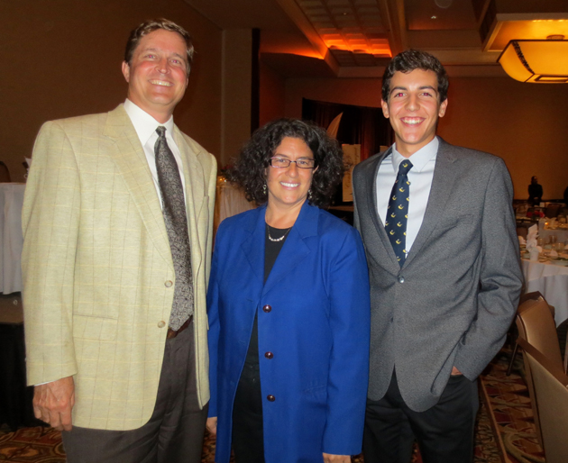 Paul Casey, left, Santa Barbara Mayor Helene Schneider and Noah Glueschankoff of Partners with Education.