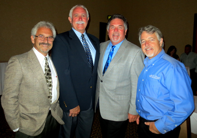 From left, contractor Joe Campanelli, Steve Stands of the State of California Registrar for Contractors, Philip Vermeuler and Christ Cault.