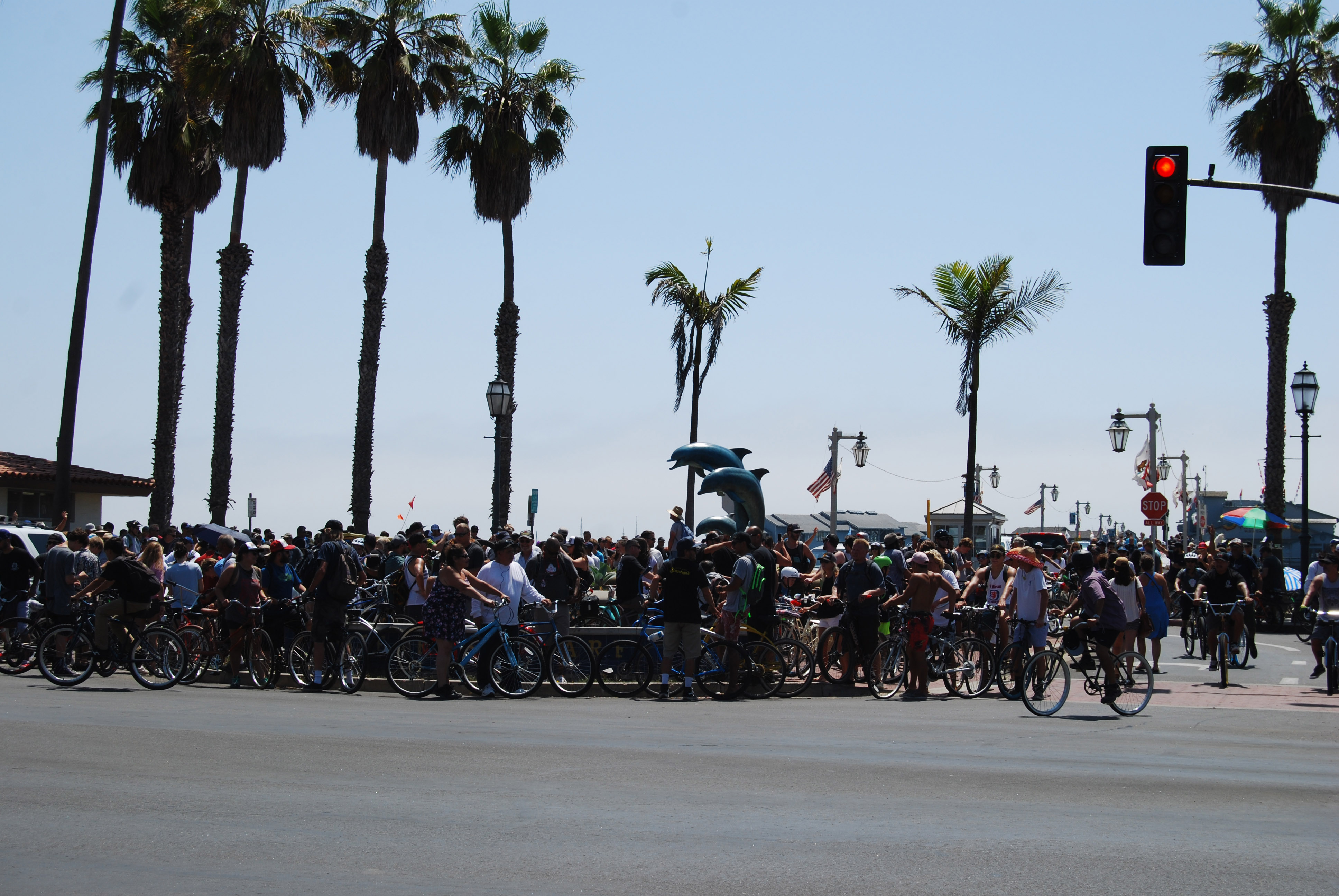 Bicyclists gather at Santa Barbara's Stearns Wharf on Sunday morning to join in the annual Fiesta cruiser ride across the South Coast.