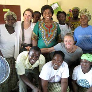 Global Neighborhood Fund of Santa Barbara founders Sandra Tyler and Connie Smith with women at the Think Rehabilitation Home in Liberia.