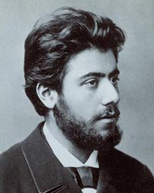 Gustav Mahler, with an enviable head of hair, about the time he wrote the First Symphony.