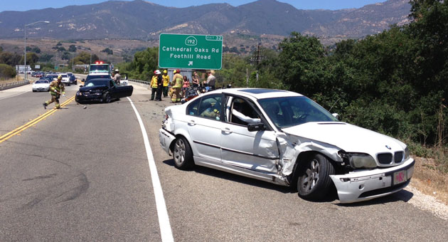 Two people reportedly suffered minor injuries Sunday afternoon in a crash on Highway 154 in Santa Barbara. (Urban Hikers photo)
