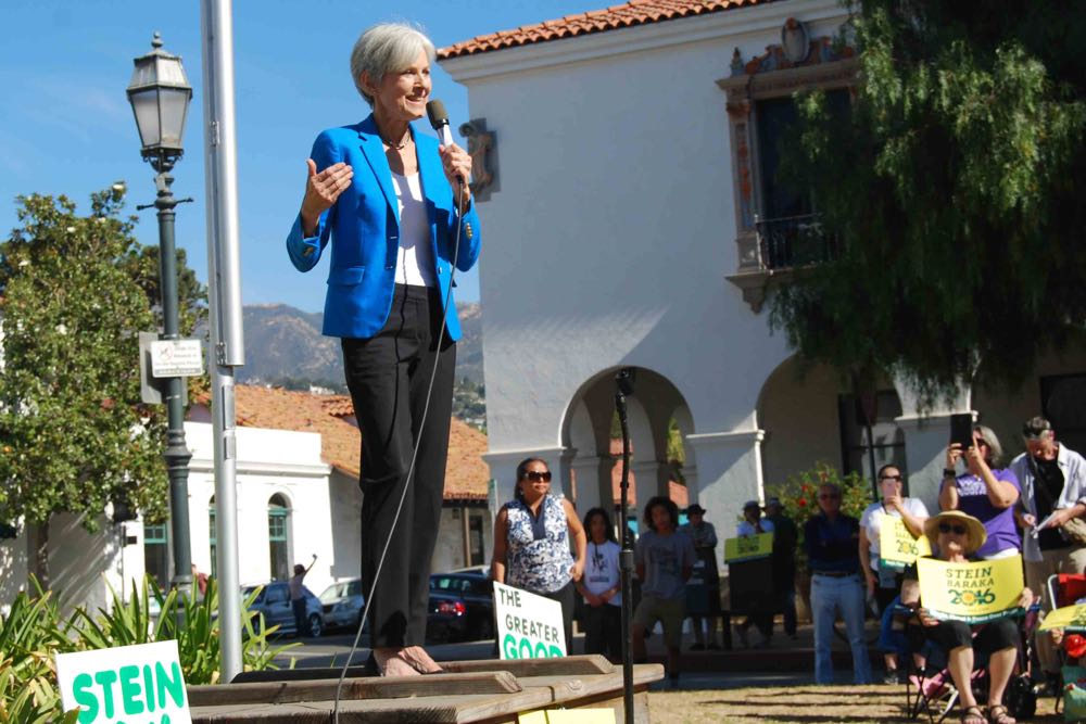 Green Party presidential candidate Jill Stein speaks at a Santa Barbara event.