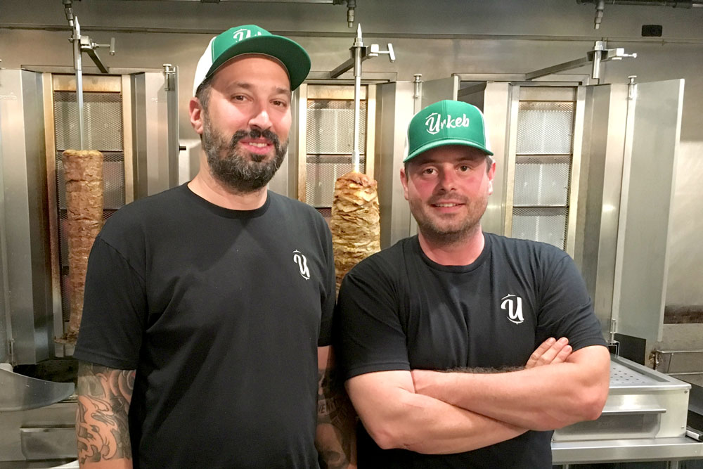Marcello Bisignani, left, and Marco Coccia have opened Urkeb on lower State Street in Santa Barbara, and will sell the Doner Kebap, a popular German street food.