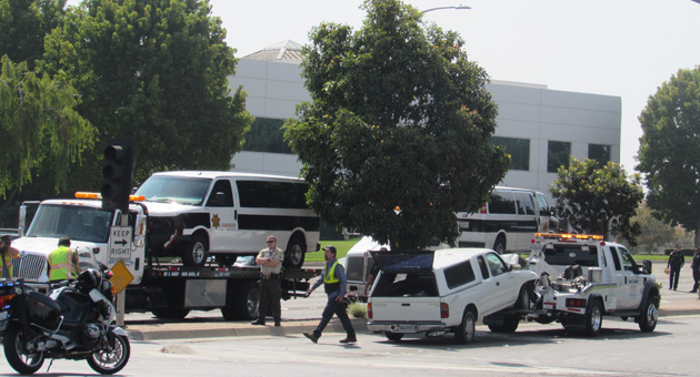 <p>Three people were hospitalized Mondady in a crash involving two Santa Barbara County Sheriff&#8217;s Department jail-transport vans.</p>