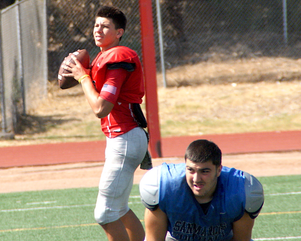 San Marcos senior center David Kesablyan and quarterback Jacob Villarreal are team leaders.