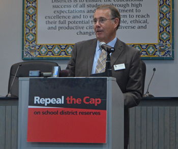 Ventura Unified was able to get through the recession years without laying off any permanent teachers due to the district's reserve fund, which would be impossible with the new 6-percent cap, board member Jack Garvin said.