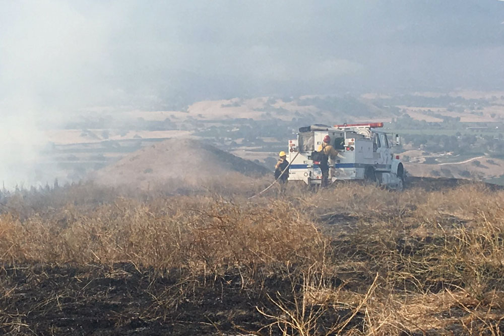 A vegetation fire blackened 26 acres in the Santa Ynez Valley on Saturday morning before being contained.