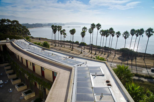 <p>Solar panels cover the roof of UCSB&#8217;s Bren Hall, the first building in the country to receive Double-Platinum LEED recognition.</p>