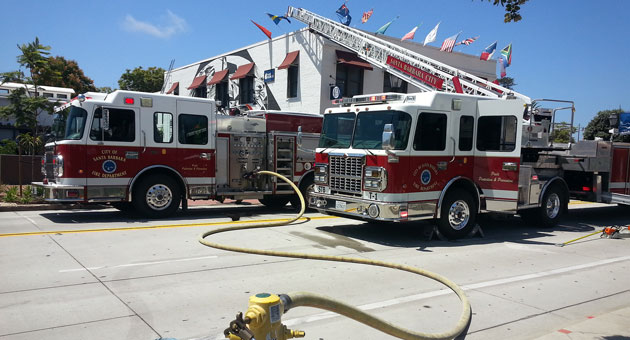 <p>Santa Barbara City Fire crews respond to a roof fire at Hotel Indigo on lower State Street.</p>