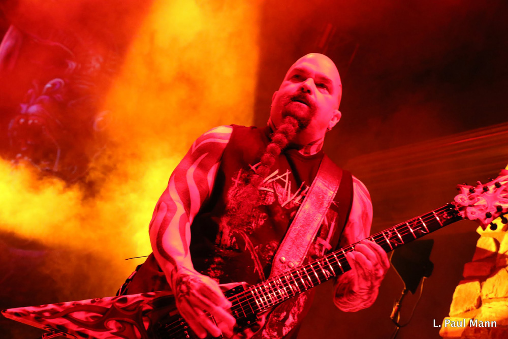 Iconic guitarist Kerry King and the band Slayer rock the Vina Robles Amphitheatre in Paso Robles as part of a triple-header of hard-core music Tuesday night.