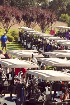 Golf carts await players at Chumash Charity Golf Classic.