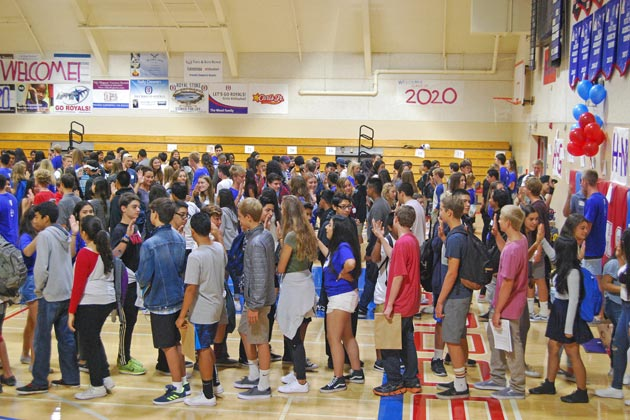 Incoming freshmen play icebreaker activities during orientation at San Marcos High School in Goleta Monday.