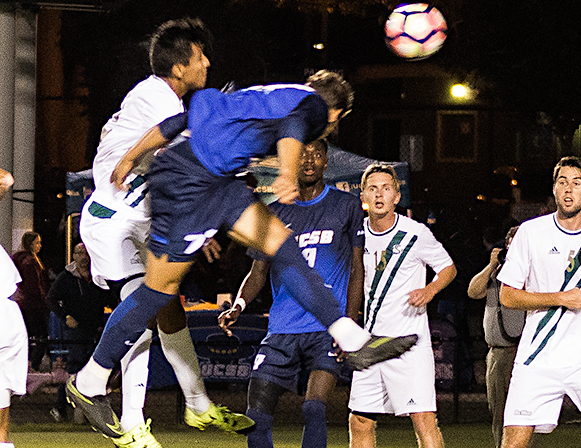 Kevin Feucht powers a header in a game last season against Sacramento State. Feucht scored a team-high 11 goals for the Gauchos.
