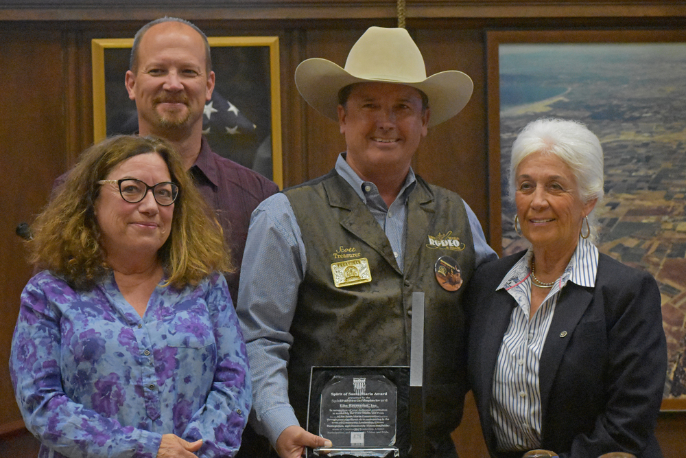 The Santa Maria Elks Lodge and Elk Recreation were presented with the Spirit of Santa Maria Award on Tuesday night. Pictured, from left, are Rebecca Carey and Greg Burtnett, Elks Rec's Scott Parsons and Mayor Alice Patino.