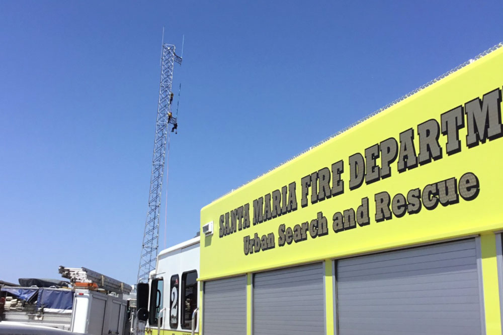 Emergency personnel responded Wednesday afternoon to a report of a man feeling faint atop a 120-foot radio tower south of Orcutt.