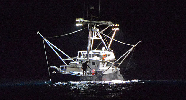 <p>A brightly lit commercial fishing vessel hunting for squid sits just offshore from Santa Barbara on a recent night.</p>