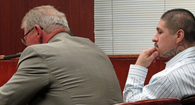 "<p>Raymond Daniel Macias, right, with his attorney in court on Monday, is charged in connection with the Jan. 3, 2013, kidnapping and torture of a fellow gang member known as ""Sicko,"" who reportedly owed Macias hundreds of dollars in taxes.</p>"