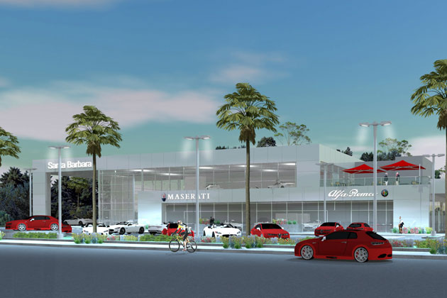 An artist's rendition shows a proposed Maserati and Alfa Romeo luxury car dealership on Hitchcock Way