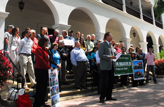 Measure B opponents, including residents and representatives of several organizations, gather outside Santa Barbara City Hall on Tuesday to express concerns about the city's building-height initiative