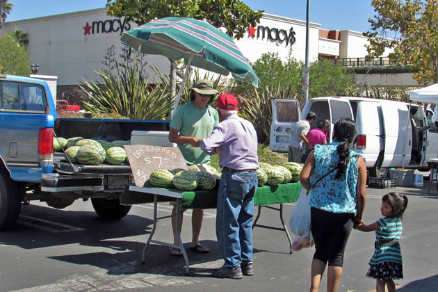 A farmers market is held each Wednesday in the parking lot for the Santa Maria Town Center West, the area city leaders hope to make the focal point for regular events to transform the downtown area into a pedestrian and bicycllist friendly area.
