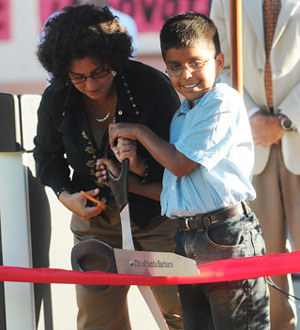 Santa Barbara Mayor Helene Schneider and Harding student Mario Hernandez cut the ribbon Friday to the new school