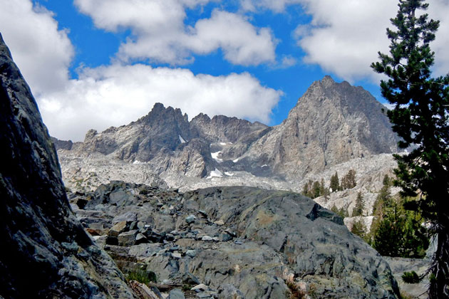 The rugged peaks of the Minarets in the Mammoth Lakes area form a dramatic backdrop on the hike to Ediza Lake.