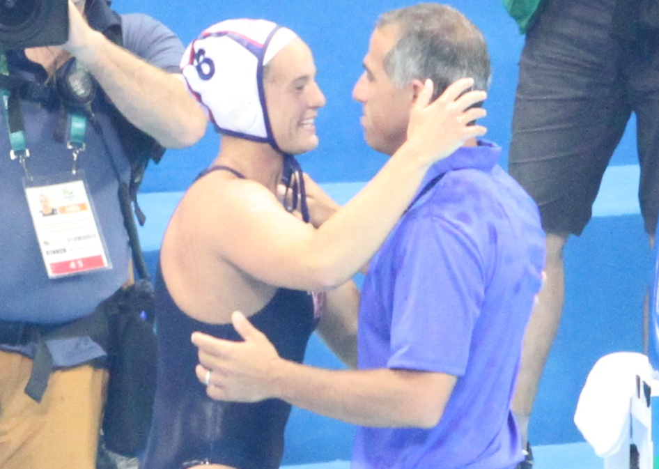 Kiley Neushul flashes a gold-medal grin at coach Adam Krikorian after Team USA's victory in the Rio Olympics. (Peter Neushul photo)