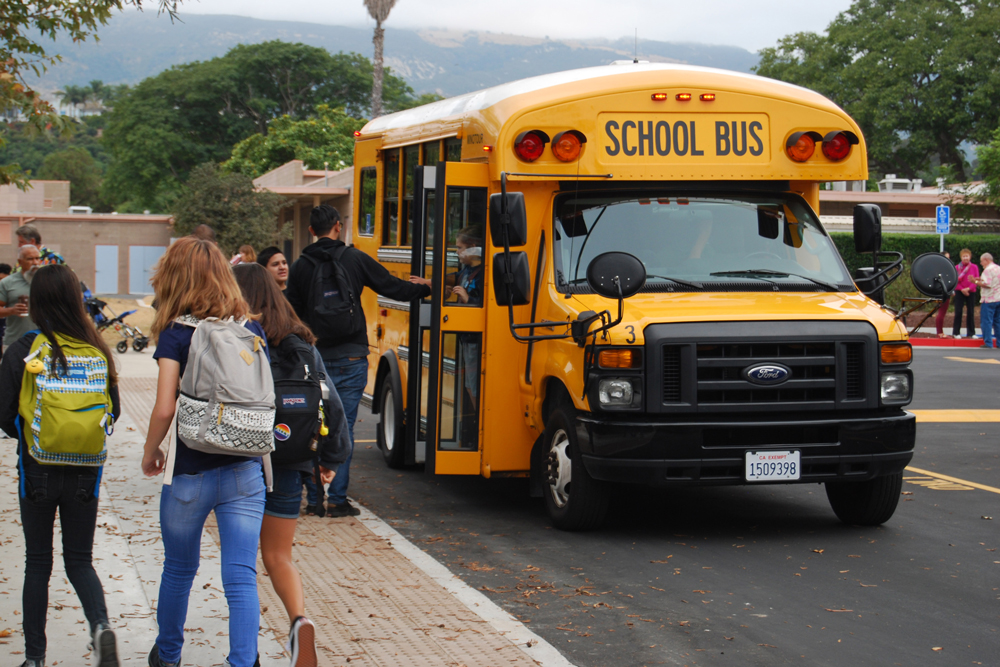 Goleta Valley Junior High students head to class on the first day of school in August. Santa Barbara Unified School District may become basic-aid funded and end some inter-district transfers.