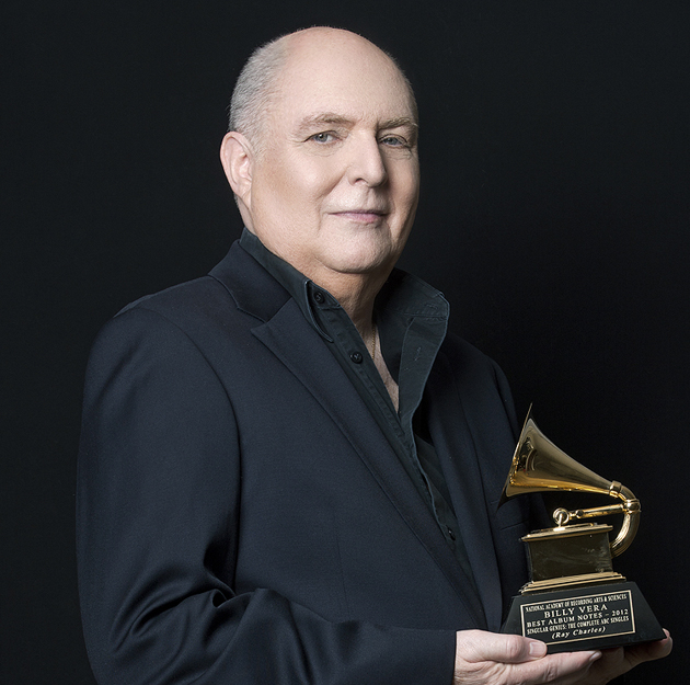 <p>Singer/songwriter Billy Vera with his 2013 Grammy Award for Best Album Notes for the Ray Charles box set <em>Singular Genius: The Complete ABC Singles</em>.</p>