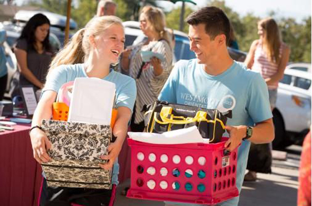 <p>Westmont College&#8217;s orientation team members move students into Page Hall.</p>