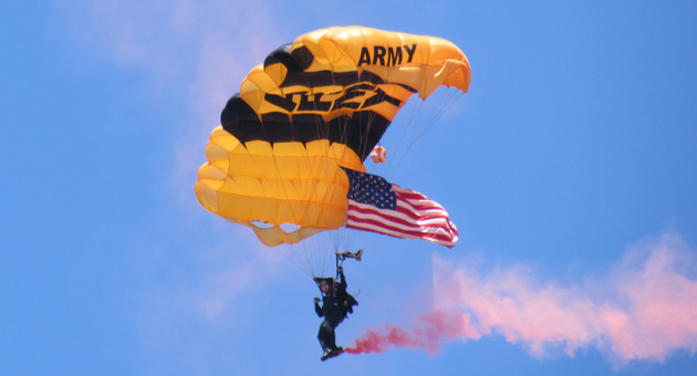 <p>A member of the U.S. Army&#8217;s Golden Knights parachute team makes a practice jump in preparation for the Thunder Over the Valley air show that will be held Saturday and Sunday at the Santa Maria Public Airport.</p>