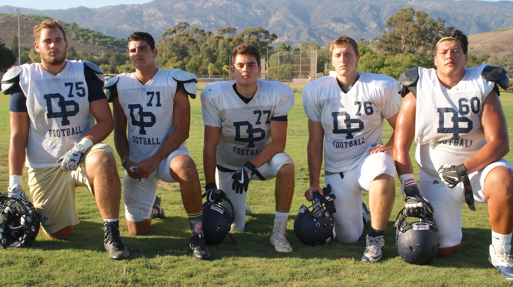 Dos Pueblos has size and experience on the offensive and defensive lines with, from left: Nathan Beveridge, Mathew Molina, Justin Padilla, Erick Nisich and Angel Flores. They helped the Chargers win a share of the Channel League title and reach the quarterfinals of the CIF playoffs last season.