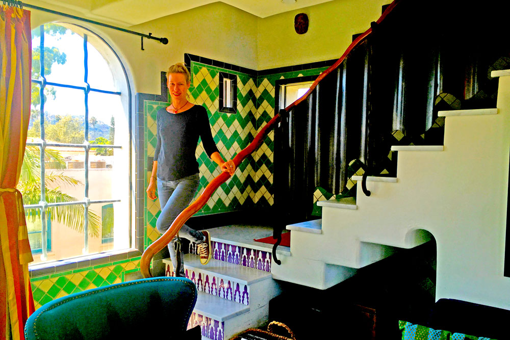 Kimberly Peterson shows off the living room at the famed Ablitt House in downtown Santa Barbara, which was converted to a 'hotel' earlier this year.