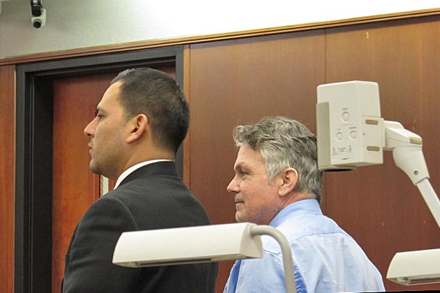 Defendant Ryan Craig Stevens, right, stands next to his defense attorney Adrian Galvan in a Santa Maria courtroom. On Friday, a jury found Stevens guilty of attempted rape stemming from a 2013 incident in downtown Santa Barbara.