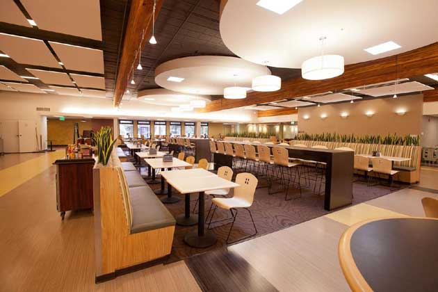 New lighting, seating and plant life enhance the renovated Dining Commons at Westmont College. (Westmont College photo)